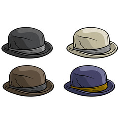 Cartoon old gentleman retro hat icon set vector