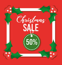 christmas sale card special offer discount vector image