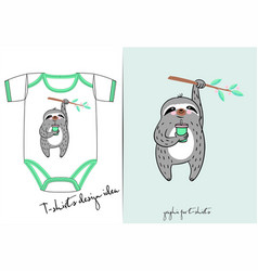 clothes for newborn summer of cute sloth vector image