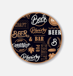Coaster for beerl with hand written lettering vector