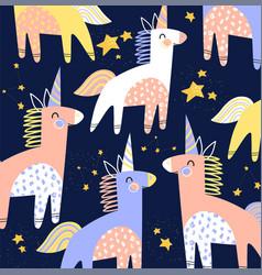 colorful kids pattern cartoon unicorns vector image