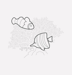 Coral reefs icon line element vector