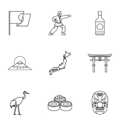 Country Japan icons set outline style vector image