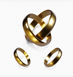 Couple gold wedding rings golden jewelry vector