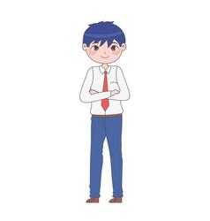 Cute manga boy vector