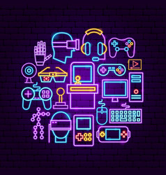 cyber game neon concept vector image