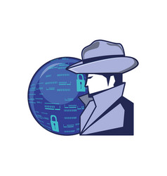 cyber security agent with sphere browser vector image