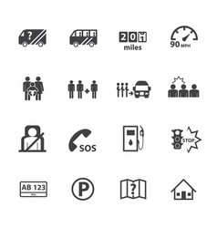 Dangers of public bus icons set flat design vector