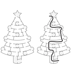 Easy Christmas tree maze vector