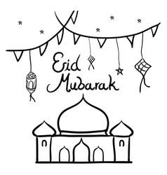 eid fitri doodle design vector image