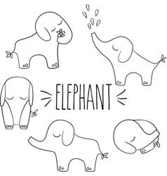 Elephants hand drawn outline vector