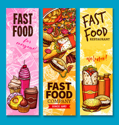fast food sketch welcome or menu banners vector image