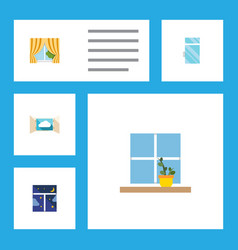 flat icon window set of glass frame cloud vector image