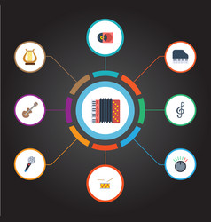 flat icons karaoke tambourine octave keyboard vector image vector image