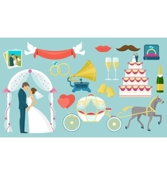 flat wedding icon set vector image