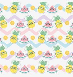 fresh pineapples and watermelons fruits kawaii vector image