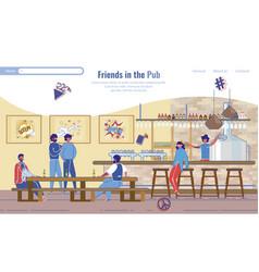 Friends rest in pub landing page lifestyle design vector