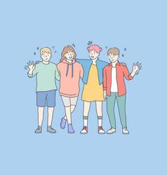 friendship portrait happiness joy childhood vector image