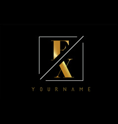 Fx golden letter logo with cutted and intersected vector