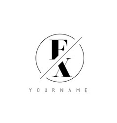 Fx letter logo with cutted and intersected design vector