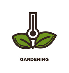 gardening logo design with thermometer and two vector image