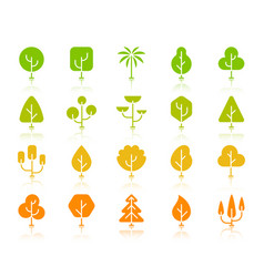 Geometric trees color silhouette icons set vector