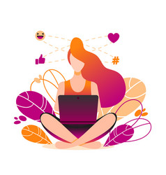 Girl sitting on the floor and working with laptop vector