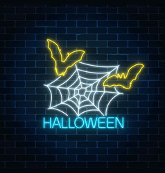glowing neon sign of halloween banner design with vector image
