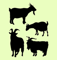 goats animal silhouettes vector image