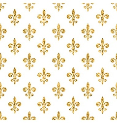 Golden fleur-de-lis seamless pattern white 1 vector