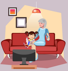 grandmother is reading a book to her granddaughter vector image
