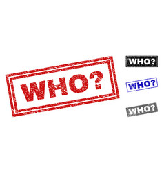 Grunge who question textured rectangle stamp seals vector