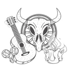 Guitar maracas cow skull on a wheel coloring of a vector