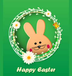 happy easter easter bunny looking at green vector image