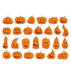 happy halloween pumpkin with creepy face icon set vector image