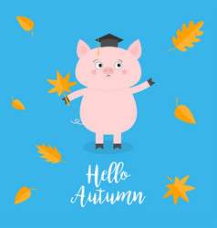 hello autumn pig piglet graduation hat academic vector image