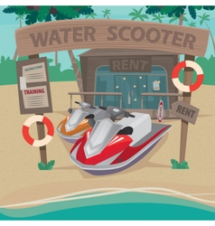 House on the beach with water scooters vector image
