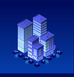 Isometric city of violet vector