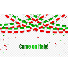 Italy garland flag with confetti on transparent vector