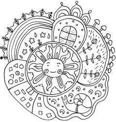 Kid drawn mandala with sun and nature elements vector