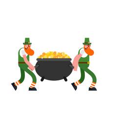 leprechaun and gold leprechauns carry pot of vector image