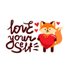 love yourself fox heart vector image