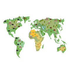 Map earth animals isolated continents and vector