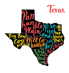 Map of state texas usa with colorful hand-written vector