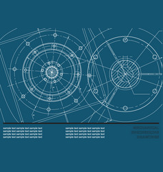 Mechanical engineering drawings on a dark blue vector