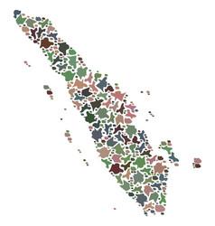 Mosaic map of sumatra island of pebbles vector