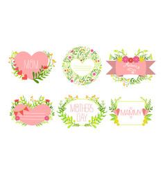 mothers day card templates with flowers set vector image