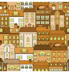 Old town vintage seamless pattern background vector