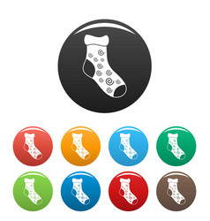 One sock icons set color vector