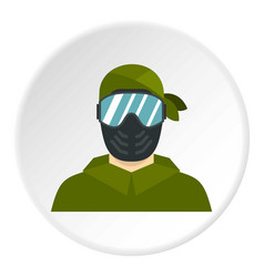Paintball player icon circle vector